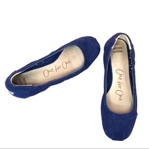 Toms Blue Suede Moroccan Cut Out Flats
